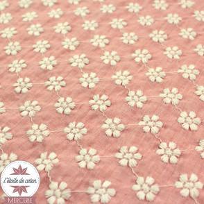 Voile de coton Marguerite - rose chiné
