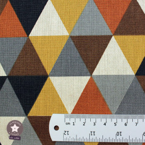Tissu toile polycoton - Triangles marron/ocre/gris
