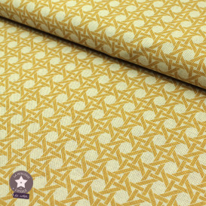 Tissu toile polycoton - Cannage ocre/lin