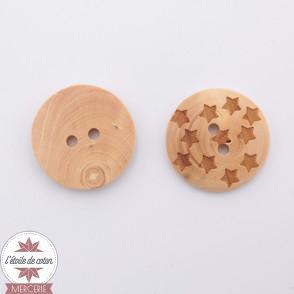 Bouton en bois - étoiles