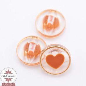 Bouton coeur orange - 11 mm