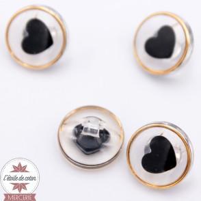 Bouton coeur noir - 11 mm