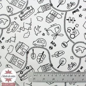 Tissu coton à colorier COSMICOLO - Oeko-Tex