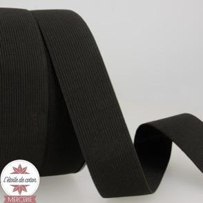 Elastique plat noir - 40 mm