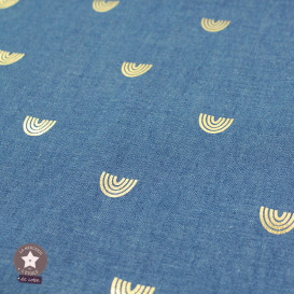 Tissu coton chambray - bleu jean - Rainbow doré
