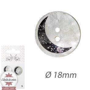 Lot 3 boutons - nacre lune marine 18 mm