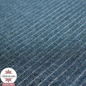 Tissu coton chambray - bleu jean chiné rayé rose lurex
