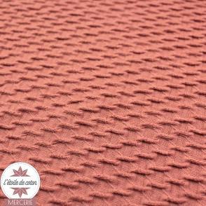 Tissu  Jacquard coton/polyester mini vagues - marsala - Oeko-Tex