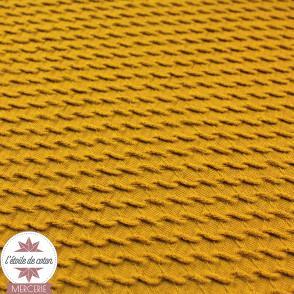 Tissu  Jacquard coton/polyester mini vagues - moutarde - Oeko-Tex