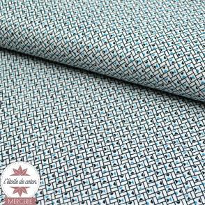 Tissu coton Mini carré - blanc/ciel