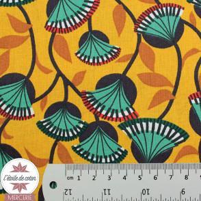Tissu coton NYER safran-aventurine - Oeko-Tex