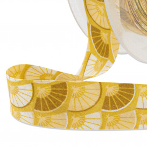 Biais polycoton éventails jaune/moutarde 20 mm