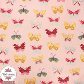 Popeline de coton Oeko-Tex Butterflies rose - Poppy