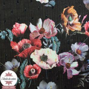 Tissu mousseline Flower et lurex - bleu canard