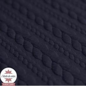 Jersey matelassé torsade - bleu marine