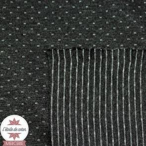Tissu jersey Milano réversible pois/rayures - anthracite