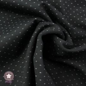 Tissu jersey Milano réversible pois/rayures - noir