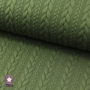 Jersey matelassé torsade - vert kaki