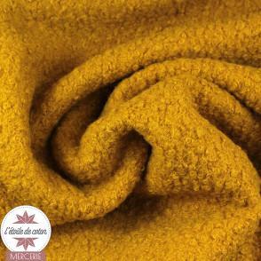 Tissu lainage bouclettes - moutarde