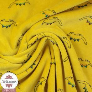 Tissu velours nicky Little Dinos by Poppy - moutarde - Oeko-Tex