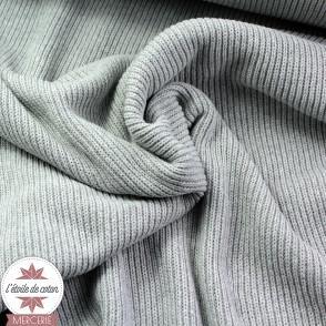 Tissu maille tricot en coton recyclé - gris perle