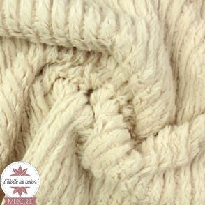 Tissu fourrure fantaisie Rayures - sable