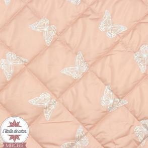 Tissu matelassé doudoune Papillon réfléchissant - rose