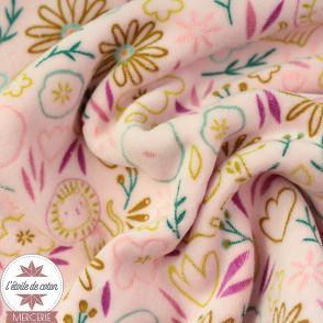 Tissu velours nicky Sweet Flowers by Poppy - rose - Oeko-Tex