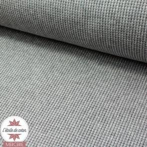 Tissu maille tricot - gris, lurex argent