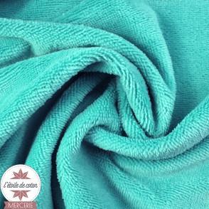 Tissu micro éponge de bambou bleu lagon (Oeko-Tex)