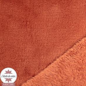 Tissu polaire doudou - terracotta