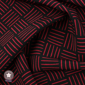 Tissu polyester élasthanne motifs graphiques - noir/rouge