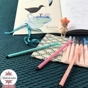 Tissu coton Anggun pêche - Oeko-Tex