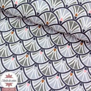 Coton enduit Jacinthe gris/charbon - Oeko-Tex