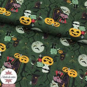 Tissu popeline de coton BIO - Monstres au clair de lune - vert