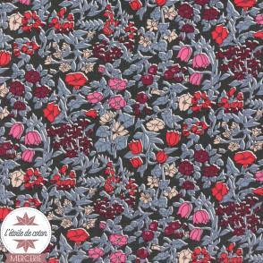 Tissu Liberty - Thorpe Hill bleu/rouge/corail