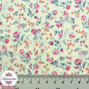Popeline de coton Dizzy Floral - bleu/rose