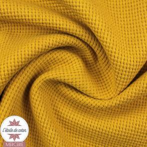 Tissu maille nid d'abeille moutarde (Oeko-Tex)