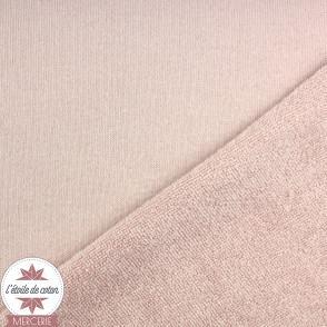 Tissu jersey éponge rose pétale - Oeko-Tex