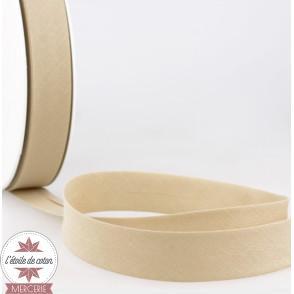 Biais uni polycoton 20 mm - beige foncé