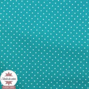 Coton enduit - mini pois bleu ciel