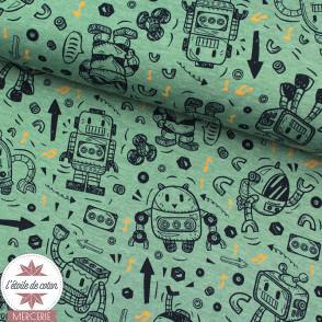 Tissu jersey Robot by Poppy - écru chiné