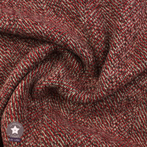 Tissu lainage chevron rouge
