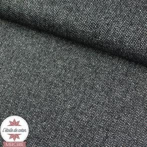 Tissu lainage petit chevron bleu