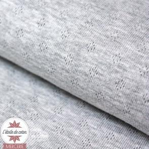 Jersey maille ajourée gris chiné