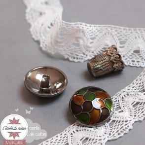 Gros bouton métal effet vitrail