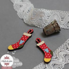 Bouton bois chaussette Noël