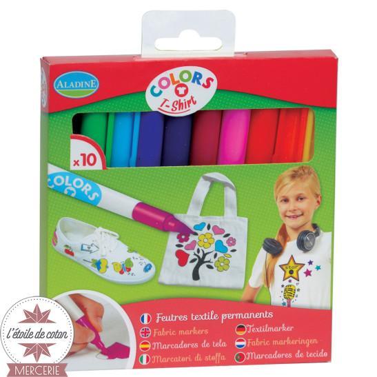 Feutres textiles - 10 couleurs